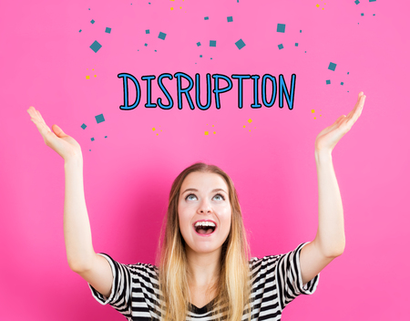 disrupting: Disruption concept with young woman reaching and looking upwards