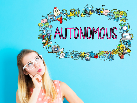 thoughtful: Autonomous concept with young woman in a thoughtful pose Stock Photo