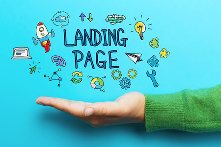 Landing Page concept with hand on blue background