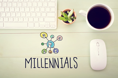 desk light: Millennials concept with workstation on a light green wooden desk Stock Photo