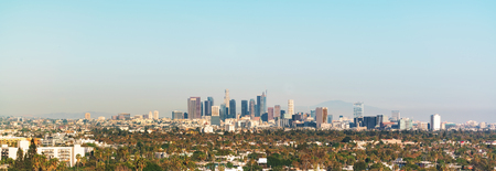 los angeles county: Panoramic view of Downtown Los Angeles toward twilight