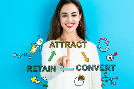 returning: Attract Convert Retain concept with young woman on blue background