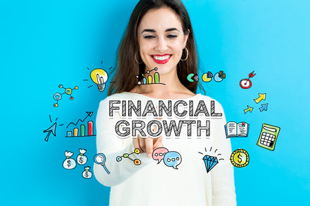 financial growth: Financial Growth concept with young woman on blue background