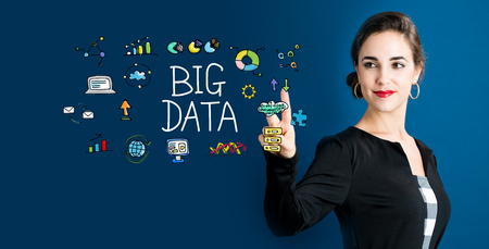 big woman: Big Data concept with business woman on a dark blue background