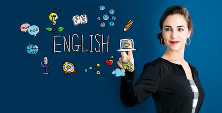 english girl: English concept with business woman on a dark blue background