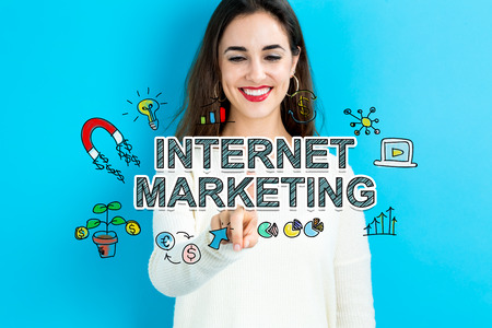 internet marketing: Internet Marketing concept with young woman on blue background