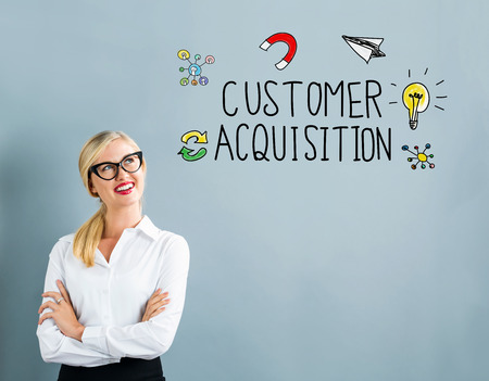 Customer Acquisition text with business woman on a gray background