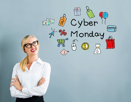 cyber woman: Cyber Monday text with business woman on a gray background
