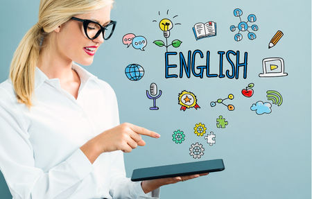 woman tablet: English text with business woman using a tablet