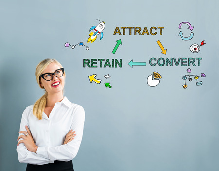 Attract Convert Retain text with business woman on a gray background Stock Photo