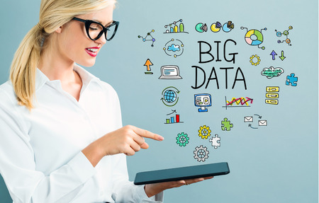 big woman: Big Data text with business woman using a tablet