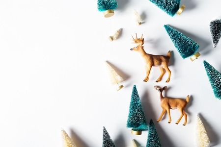 christmas trees: Christmas trees and deer from top view