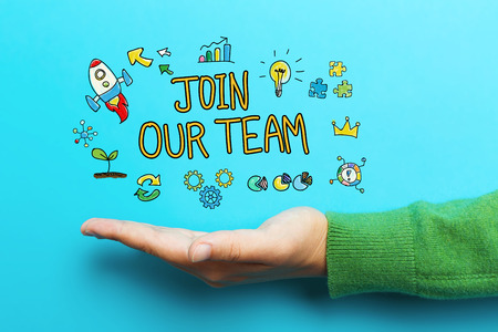 join the team: Join Our Team concept with hand on blue background