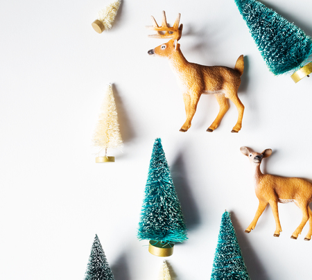 miniature: Christmas trees and deer from top view