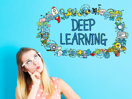 Deep Learning concept with young woman in a thoughtful pose