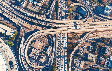 expressway: Aerial view of a massive highway intersection in Los Angeles
