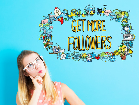 thoughtful: Get More Followers concept with young woman in a thoughtful pose Stock Photo