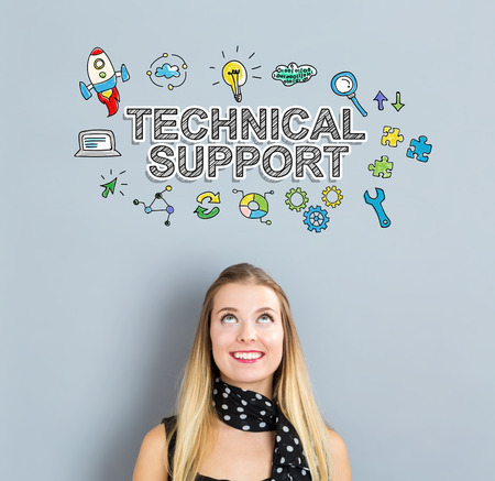 business support: Technical Support concept with happy young woman on a gray background