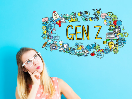 gen: Gen Z concept with young woman on blue background