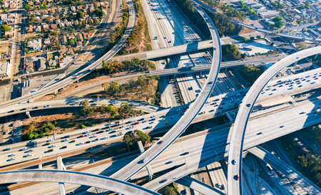 la: Aerial view of a massive highway intersection in Los Angeles