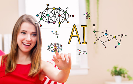 ai: AI concept with young woman in her home  Stock Photo