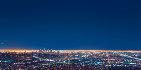 Los Angeles panoramic cityscape at night with view of downtown LA