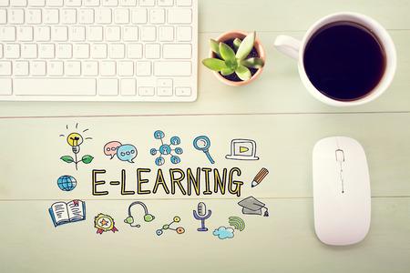 E-Learning-Konzept mit Workstation auf einem hellgrünen Holz-Schreibtisch