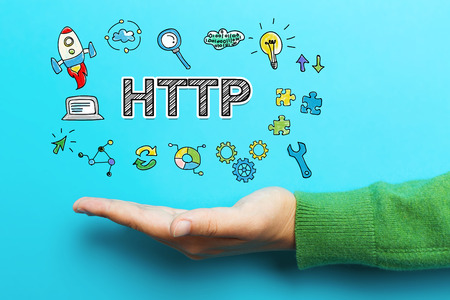 HTTP concept with hand on blue background