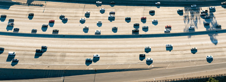 schlagbaum: Aerial view of a massive highway intersection in Los Angeles