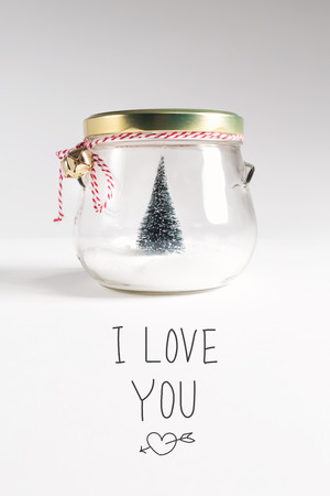 I Love You message with Christmas tree in a glass Jar