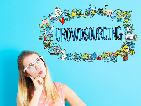 crowd source: Crowdsourcing concept with young woman in a thoughtful pose Stock Photo