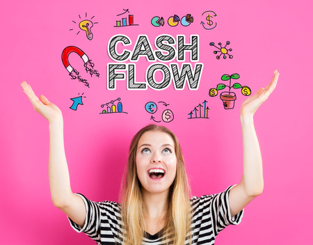 Cash Flow concept with young woman reaching and looking upwards