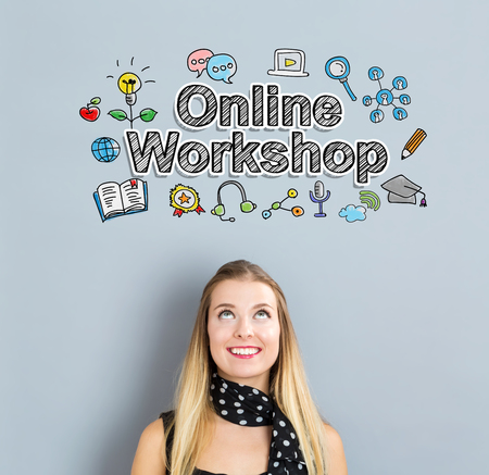 workshop seminar: Online Workshop concept with happy young woman on a gray background