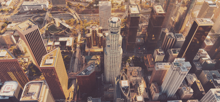 Aerial view of a Downtown Los Angeles at sunset Zdjęcie Seryjne