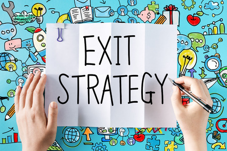 Exit Strategy text with hands and colorful illustrations