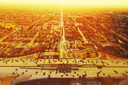 turnpike: Aerial view of a massive highway intersection in Los Angeles