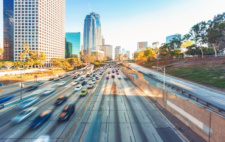 turnpike: View of Los Angeles highway rush hour traffic in Downtown LA Stock Photo