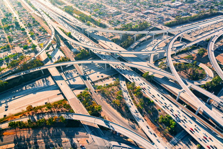 Aerial view of a massive highway intersection in Los Angeles Reklamní fotografie - 70428480