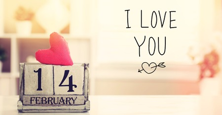 Valentines Day message with wooden block calendar