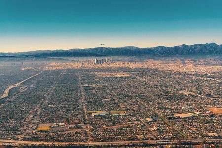 Aerial view of the sprawling city of Los Angeles