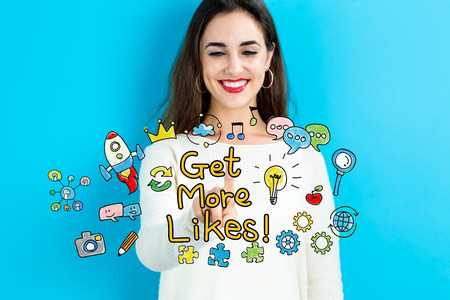 happy business woman: Get More Likes text with young woman on a blue background