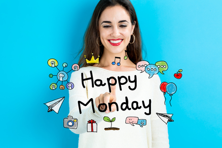 business woman: Happy Monday text with young woman on a blue background