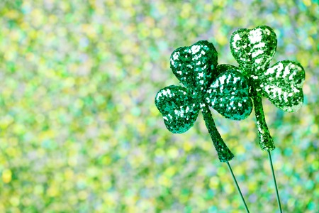 Saint Patricks Day shiny green clover ornaments