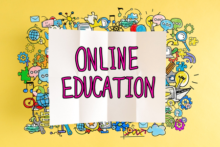 Online Education  text with colorful illustrations on a yellow background