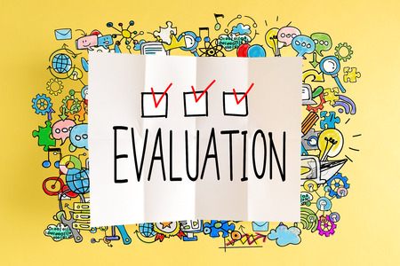 Evaluation text with colorful illustrations on a yellow background Stock Photo