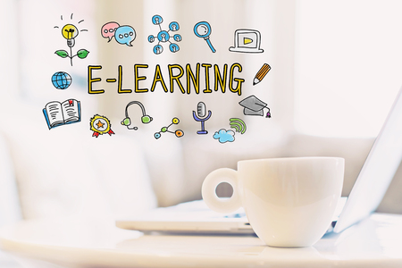 E-Learning concept with a cup of coffee and a laptop