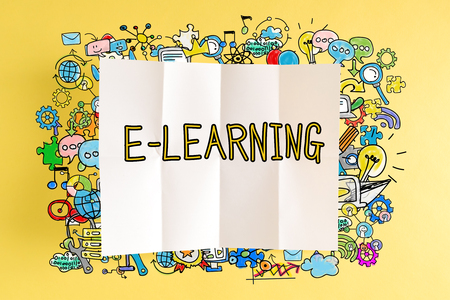 E-Learning text with colorful illustrations on a yellow background