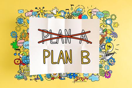 Plan B text with colorful illustrations on a yellow background Stock fotó