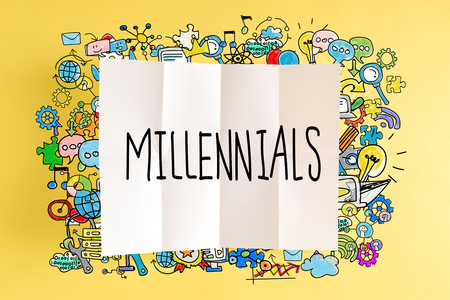 Millennials text with colorful illustrations on a yellow background Stock Photo