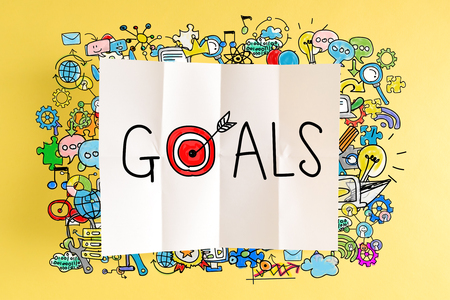 Goals text with colorful illustrations on a yellow background